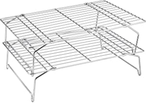 Cooling Rack Set, P&P CHEF 2-Tier Stackable Stainless Steel Wire Racks for Baking Cooking Cooling Roasting, Collapsible & Heavy Duty, Oven & Dishwasher Safe (15''x10'')