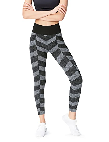723c2df10db0c Activewear High Waisted Chevron Seamless Sports Leggings, Grey (Black/grey  Marl),