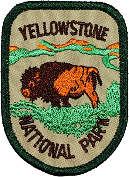 Sew-On Souvenir Gear Applique Yellowstone Park Buffalo Embroidered Patch Iron