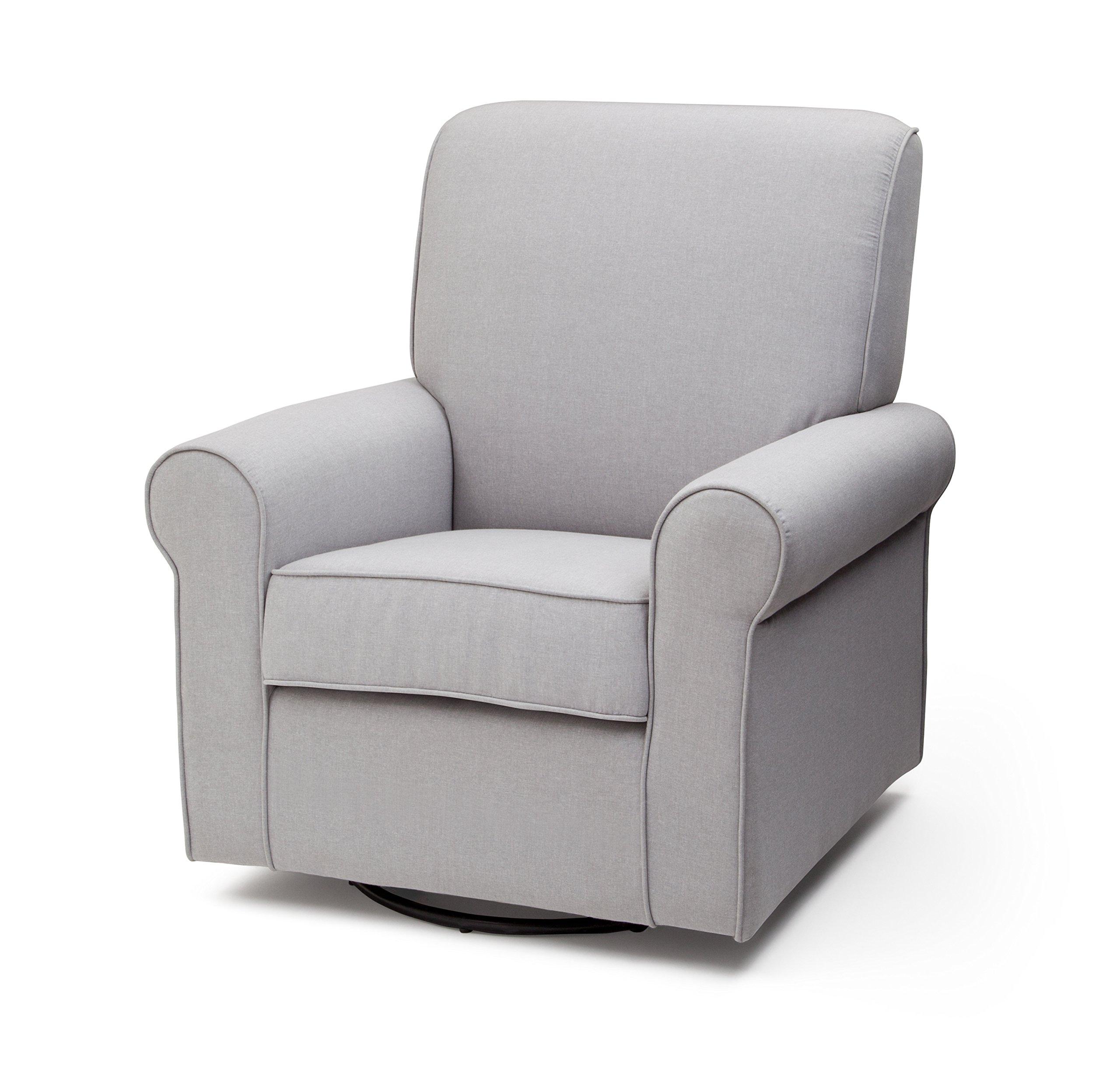 Delta Furniture Avery Upholstered Glider Swivel Rocker Chair, Heather Grey