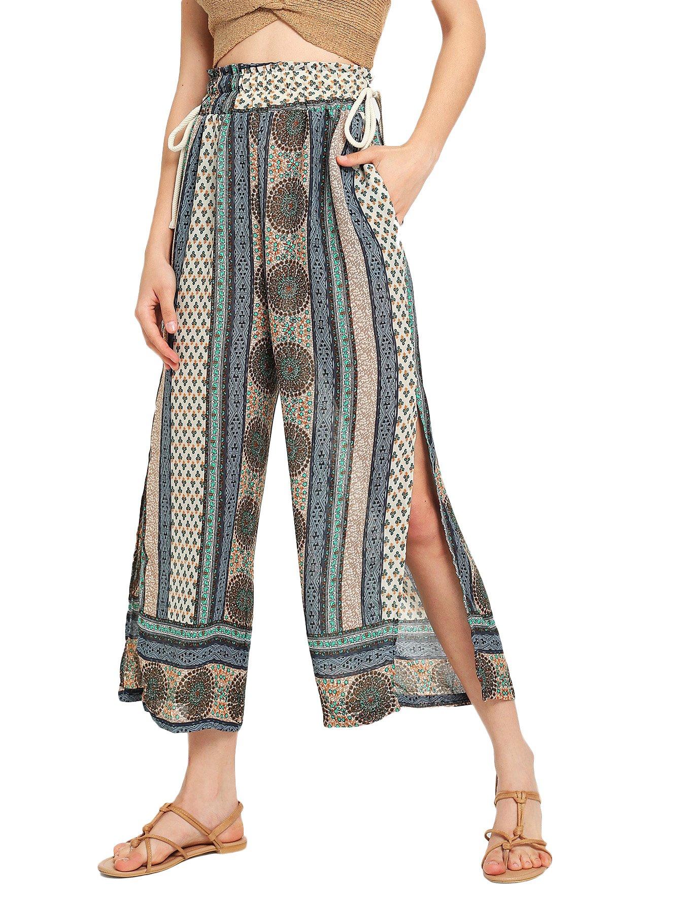 Romwe Women's Floral Frilled High Elastic Waist Wide Leg Pants #Muliticolor XL