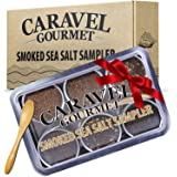 The Smoked Sea Salt Sampler Set - 6 Varieties in Reusable Tins with Bamboo Spoon: Naturally Smoked Bacon, Bacon Chipotle, Oni