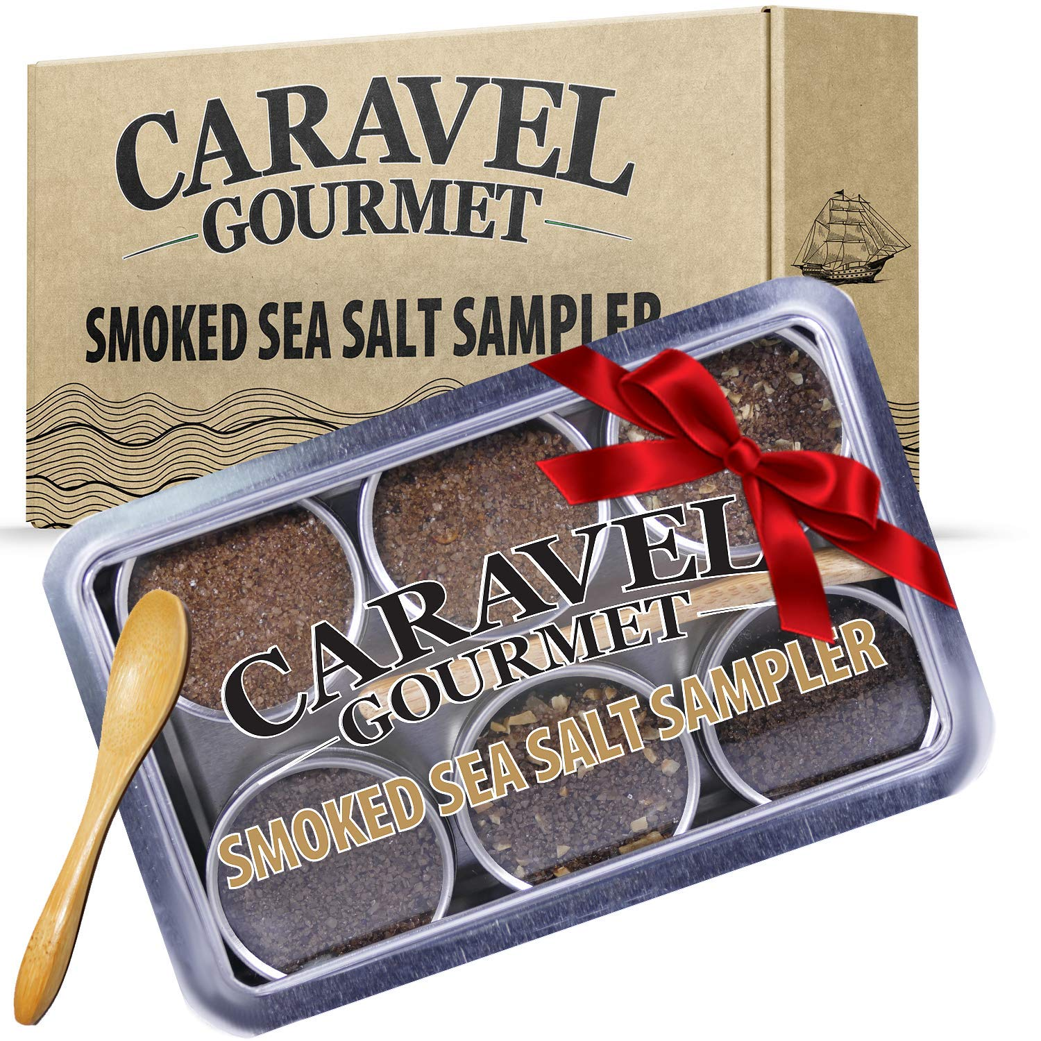 The Smoked Sea Salt Sampler Set - 6 Varieties in Reusable Tins with Bamboo Spoon: Naturally Smoked Bacon, Bacon Chipotle, Onion and Garlic, Alderwood, Garlic and Cherrywood - 1/2 oz each