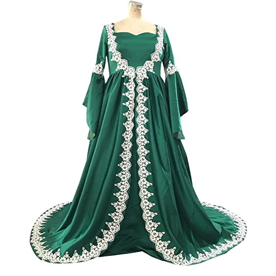 Banfvting Green Medieval Formal Dress Satin Lace Evening Gown Plus ...