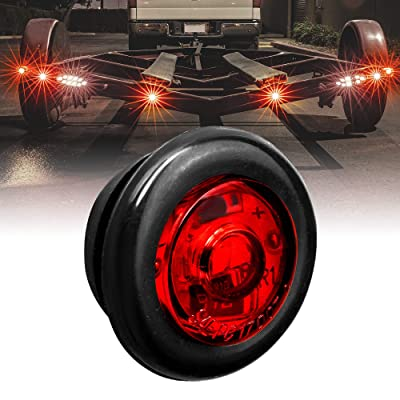 "3/4"" Round Red Trailer LED Marker Light [DOT FMVSS 108] [SAE P2PC] [Semi-Spherical Output] [IP67 Waterproof] [Bullet Style] Round Clearance Marker Lights for Trailer Truck: Automotive"