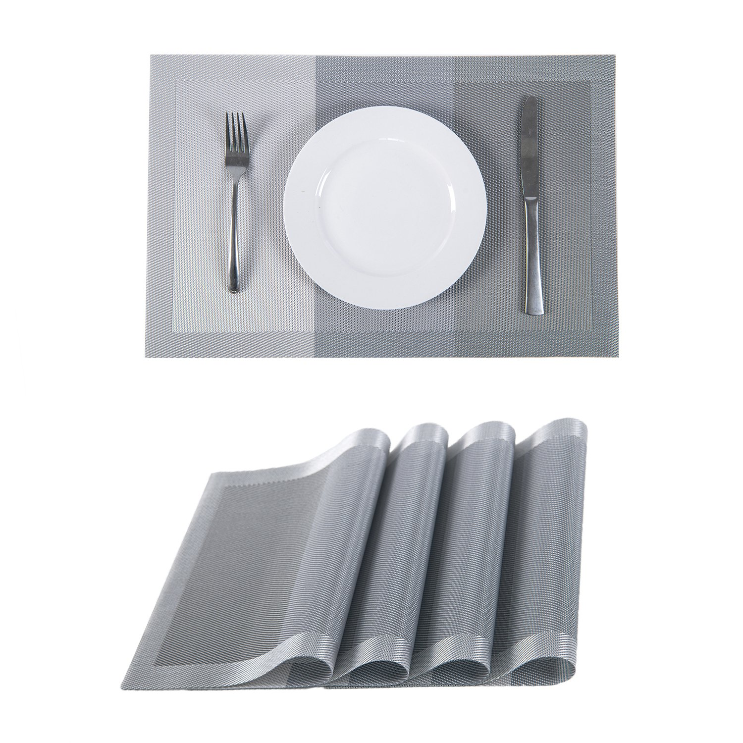 SUNSHINE FASHION Set of 4 Placemats,Placemats Dining Table,Heat-Resistant Placemats, Stain Resistant Washable PVC Table Mats,Kitchen Table mats(4, Strip-Gray)