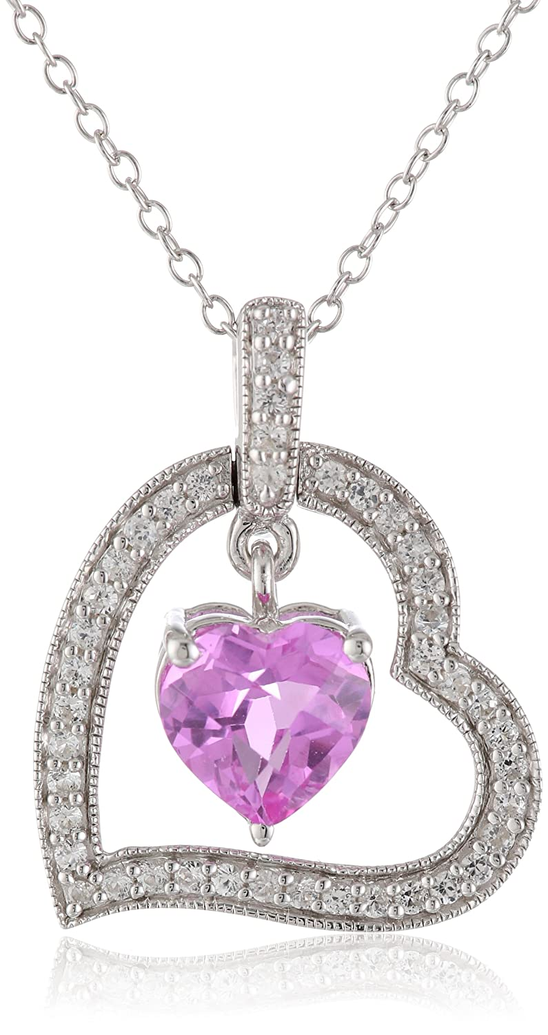 Sterling Silver, Created Pink Sapphire, and Created White Sapphire Heart Pendant Necklace, 18