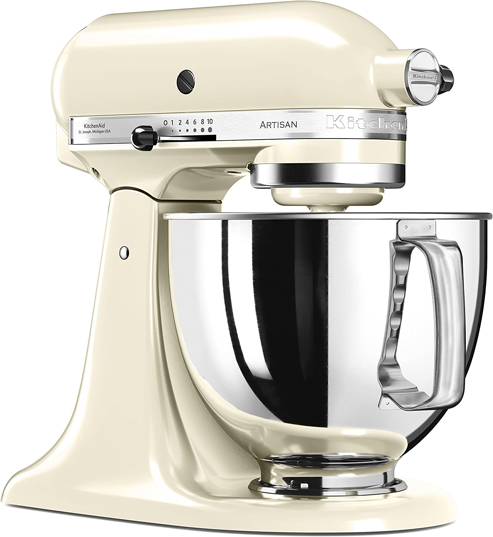 KitchenAid 5KSM125 EA Cream Artisan 5KSM125EAC-Robot de Cocina, tazón de 4.8 L, Color Crema, 300 W, 4.8 litros, 70 Decibelios