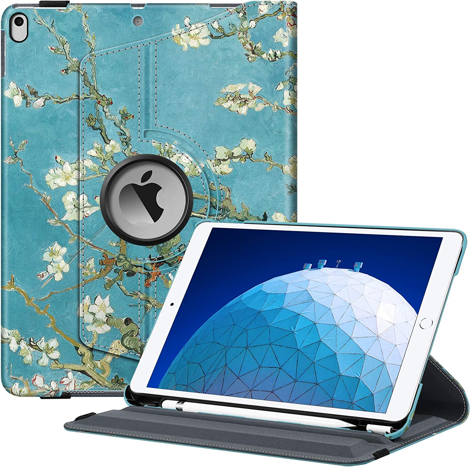 "Fintie Rotating Case for iPad Air (3rd Gen) 10.5"" 2019 / iPad Pro 10.5"" 2017 - 360 Degree Rotating Stand Protective Cover with Built-in Pencil Holder, Auto Sleep / Wake (Blossom)"