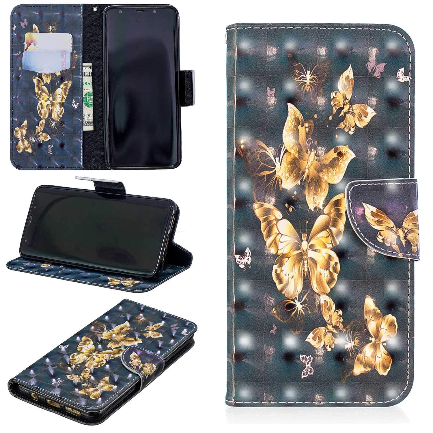 CUSKING Galaxy S9 Plus Case, Premium 3D Design Wallet Case Stand Flip Case with Card Holders and Magnetic Closure, Multi-Functional Shockproof Case for Samsung Galaxy S9 Plus - Golden Butterfly