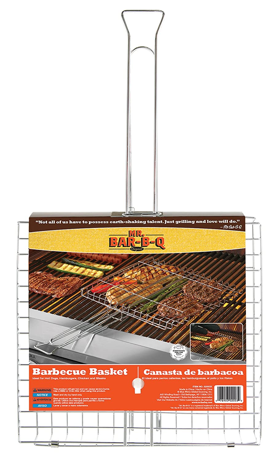 Amazon.com : Mr. Bar-B-Q 02003X Chrome Grilling Basket : Garden & Outdoor
