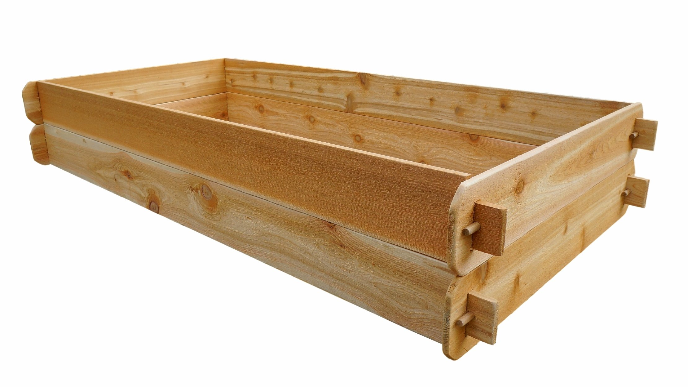 Timberlane Gardens Raised Bed Kit Double Deep, Western Red Cedar Mortise Tenon Joinery, 3' W x 6' L 2 Raised garden bed kit proudly made in homer glen, Illinois USA Constructed of select western red cedar Handcrafted mortise & tenon joinery