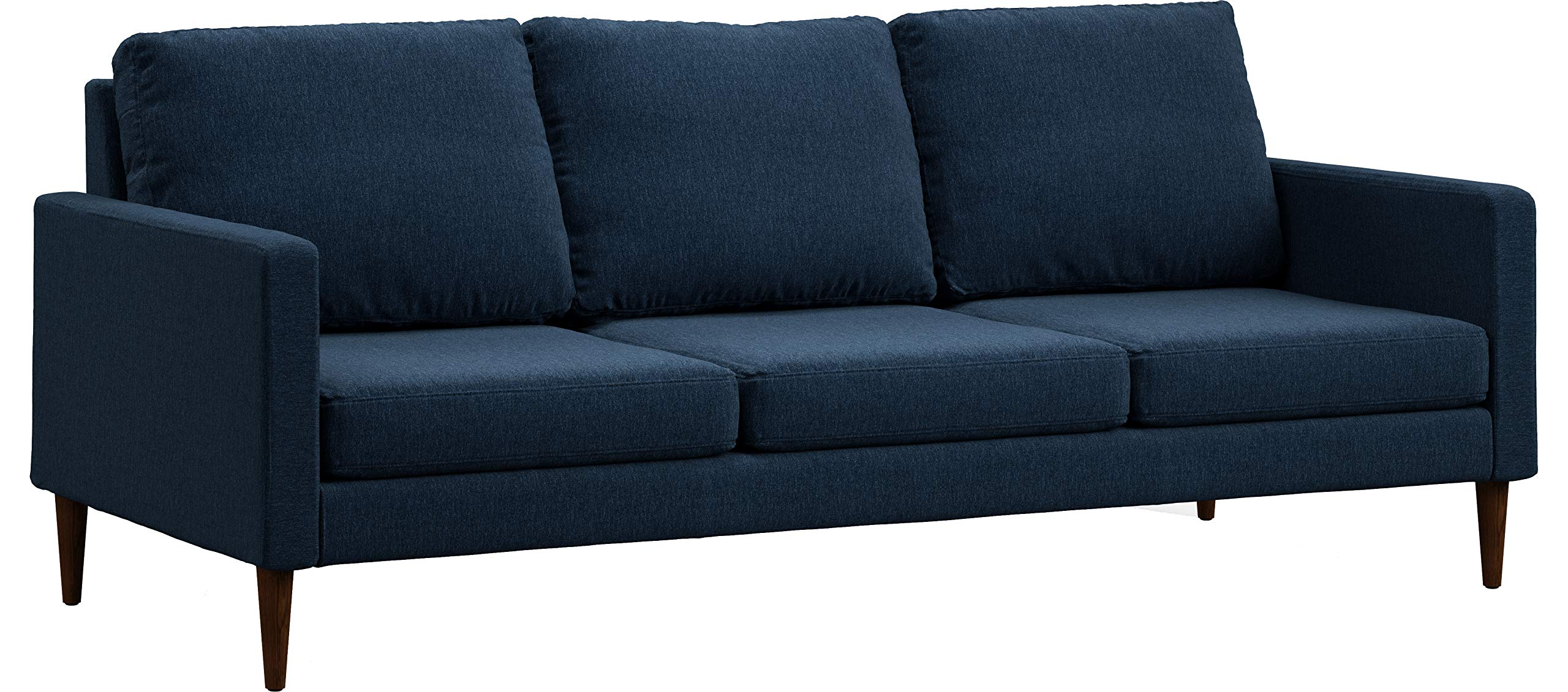 Campaign 86-Inch Steel Frame Brushed Weave Sofa, Midnight Navy with Mahogany Stained Solid Oak Legs by Campaign