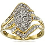 Amazon Price History for:Sterling Silver with Yellow Gold Plating Diamond Ring, Size 7