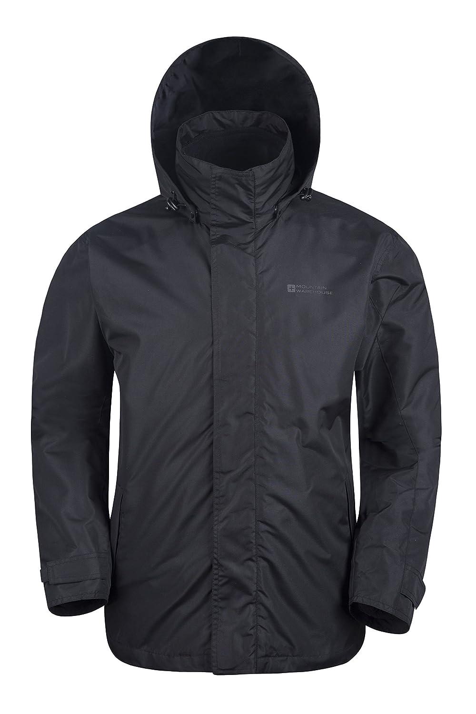 Mountain Warehouse Chaqueta Fell impermeable 3 en 1 para hombre - Chubasquero con capucha ajustable, forro de felpa interior desmontable, bolsillos Negro ...