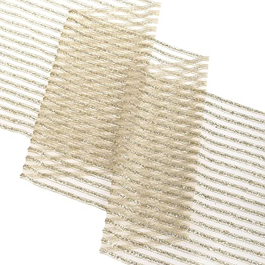 Christmas Tablescape Decor - Glamorous sheer striped sparkly glitter champagne gold organza table runner