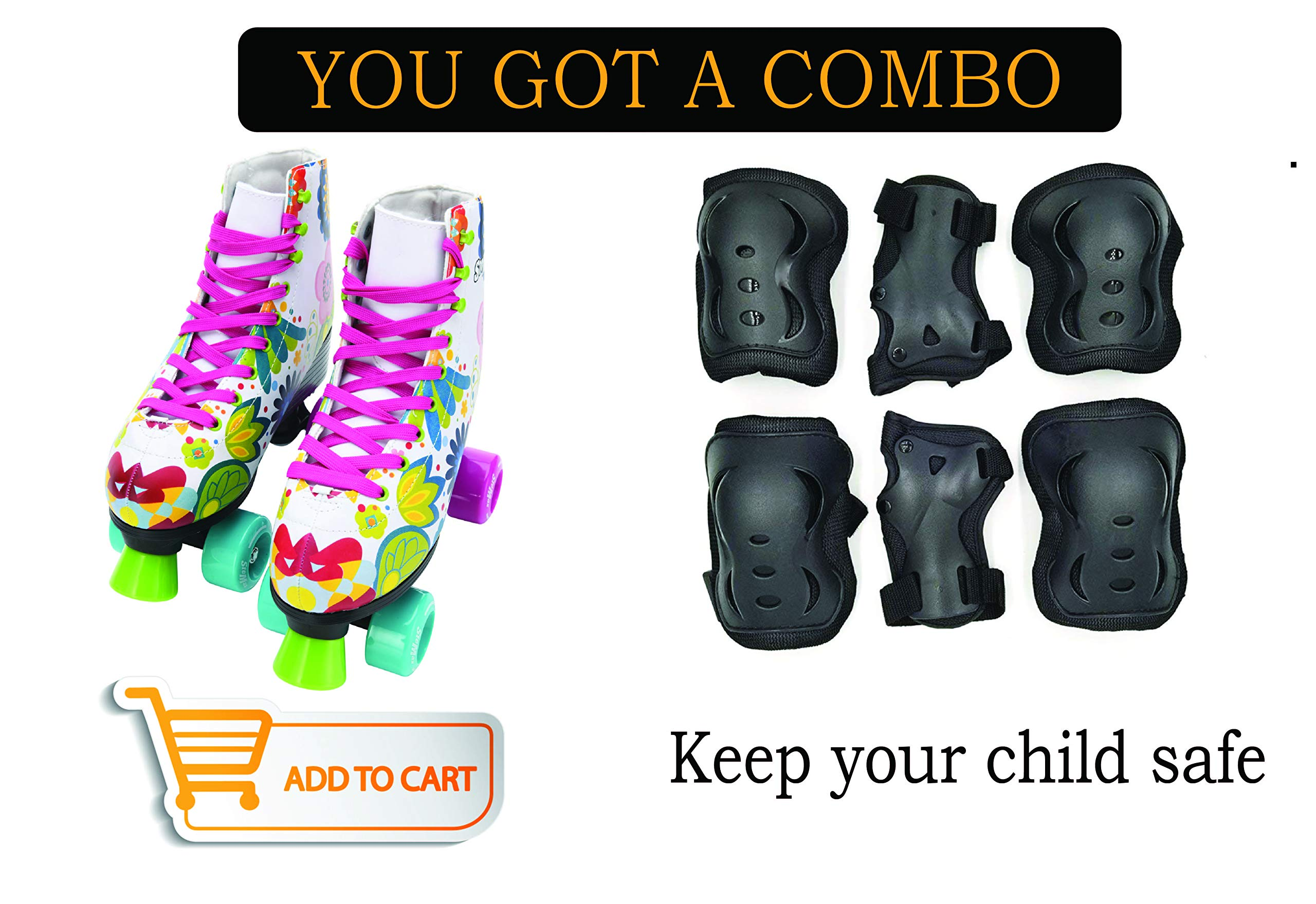 Stemax Combo Quad Roller Skates for Boys - Girls and Knee Pads, Elbow Pads with Wrist Guards - Outdoor-Indoor.