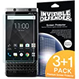 BlackBerry KEYone Screen Protector, Invisible Defender [3+1 film/ MAX CLARITY][Case Compatible] Lifetime Warranty Perfect Touch Precision High Definition (HD) Protective Clear Film for KEY one