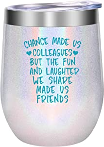 Coworker Gifts for Women - Funny Friendship, Christmas, Office Gifts for Coworkers, Work Friends - Leaving, Going Away, Holiday, Work Gifts for Coworker - LEADO Chance Made Us Colleagues Wine Tumbler
