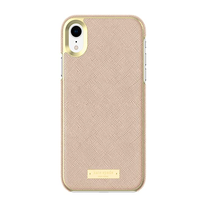 finest selection 544cd 17c60 Kate Spade New York Phone Case | for Apple iPhone XR | Protective Phone  Cases with Wrap Design and Drop Protection - Saffiano Rose Gold/Gold Logo  ...
