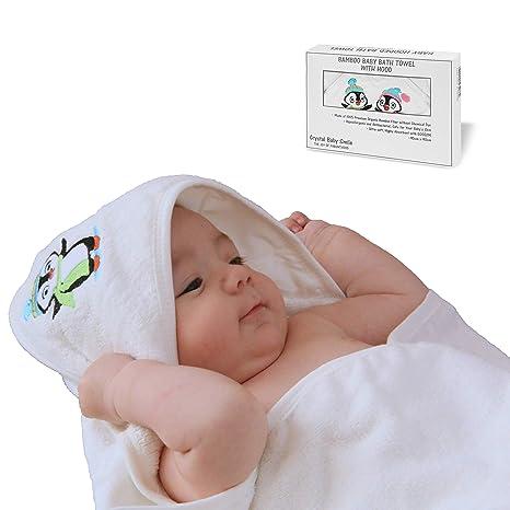 Crystal Baby Smile Toalla de Baño de Bambú con Capucha para Bebés Recién Nacidos o Niñitos - Calidad Superior, Suave y Súper Absorbente -90x90cm - ...