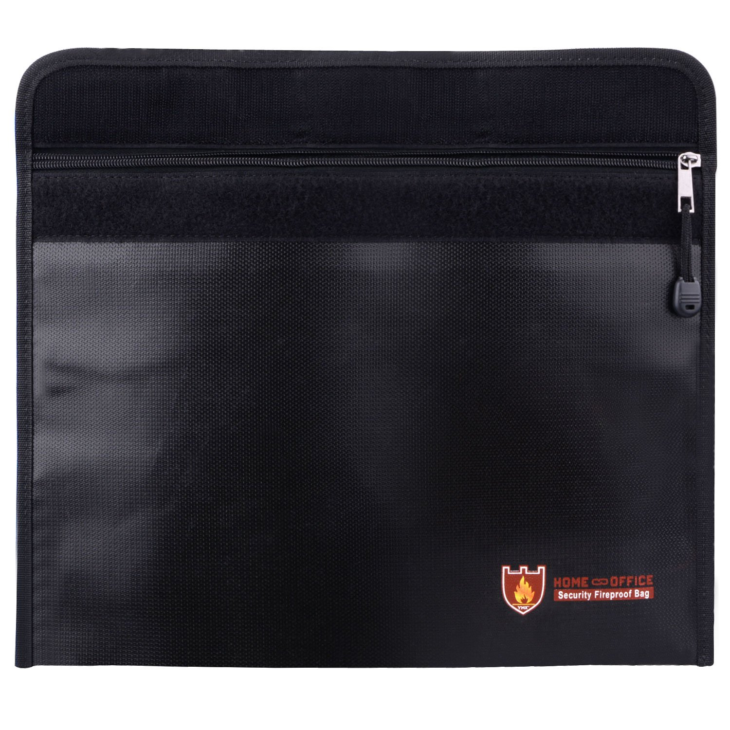 Fireproof Document Bag, Fireproof Waterproof Pouch Safe Storage for Money Cash Documents Jewelry Passport and Battery with Name Card 15''x11'' (Black)