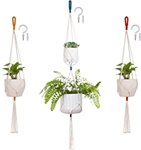 Hanging Plants for Bedroom Decor - Indoor Hanging Planters, Macrame Plant Hangers in Yellow, Blue, and Mustard Orange, with 3 Ceiling Hooks - Boho Room Decor, Holds Up to 7.5 Kilograms, Plant Holders