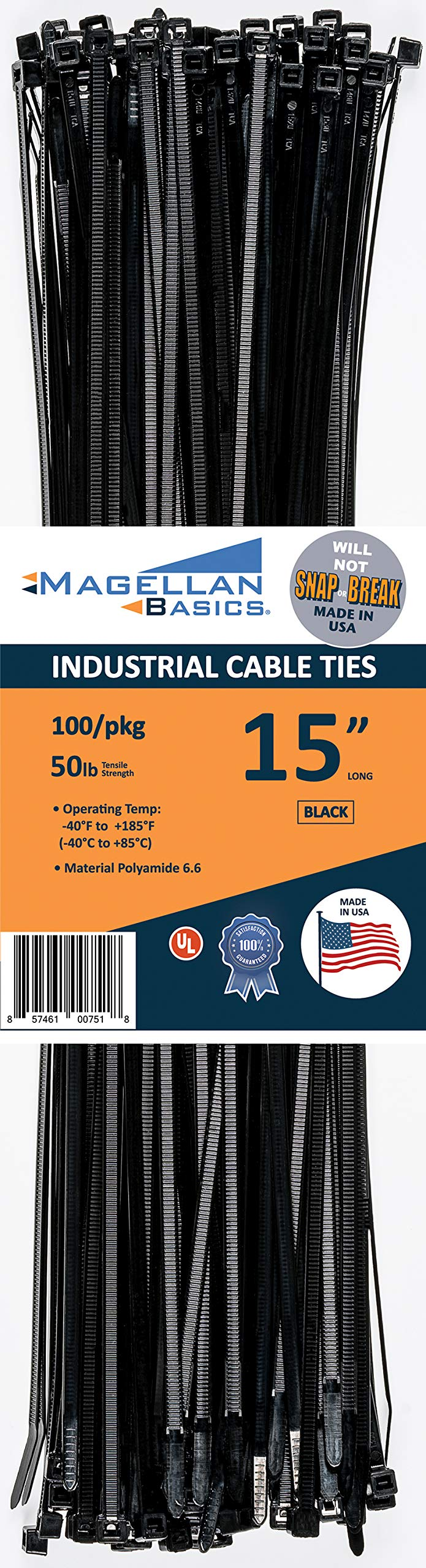 100 Pack Cable Zip Ties Heavy Duty''Made in the USA'' 15 inch, Black