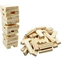 Wooden Tower Game Tumbling Tower Blocks - Fun 6 Inch Small Toppling Tower Wood Block Stacking Game for Kids