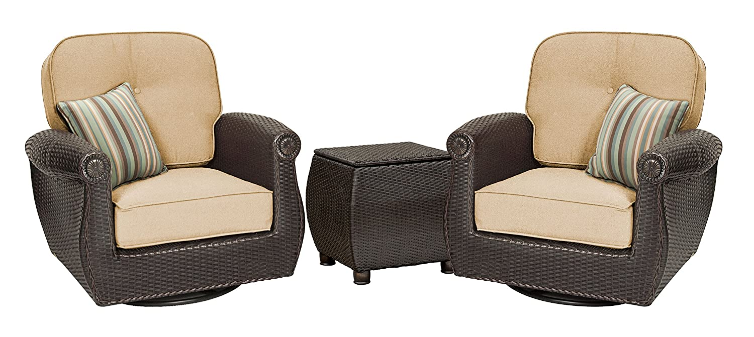 Amazon.com: La Z Boy Outdoor Breckenridge 3 Piece Resin Wicker Patio  Furniture Set (Natural Tan): 2 Swivel Rockers And Side Table With All  Weather Sunbrella ...