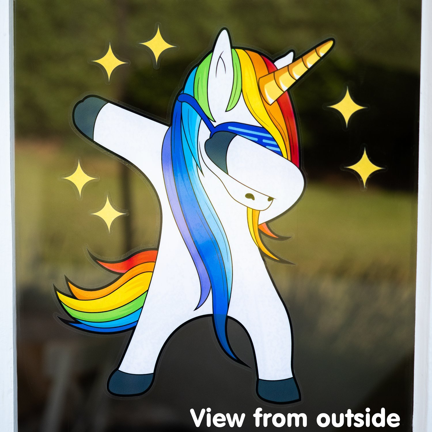 Rainbow unicorn window cling sticker double sided dabbing unicorn gifts for girls amazon co uk kitchen home