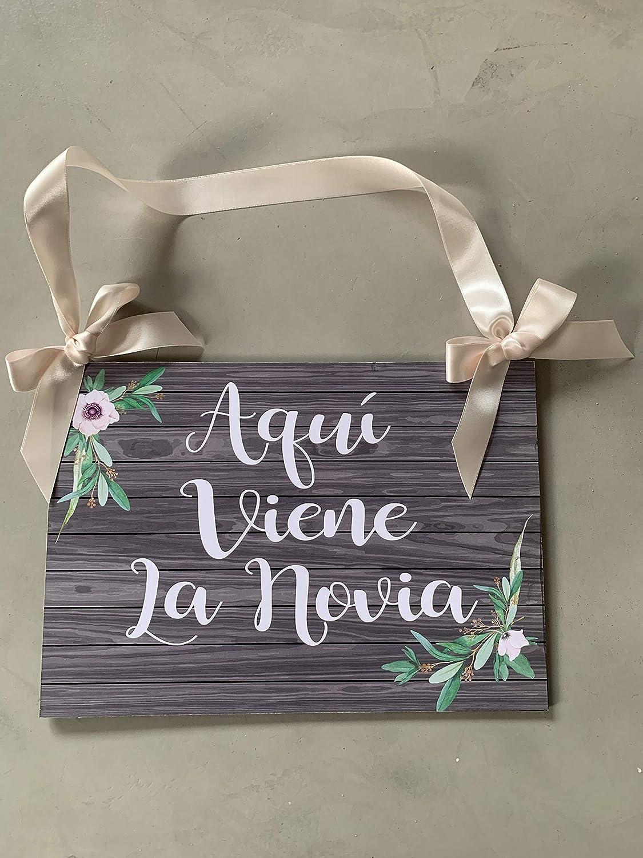 Cartel Aquí Viene la Novia para Bodas personalizado: Amazon ...