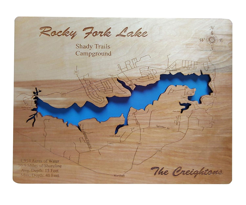 rocky fork lake map Amazon Com Rocky Fork Lake Ohio Standout Wood Map Wall Hanging rocky fork lake map