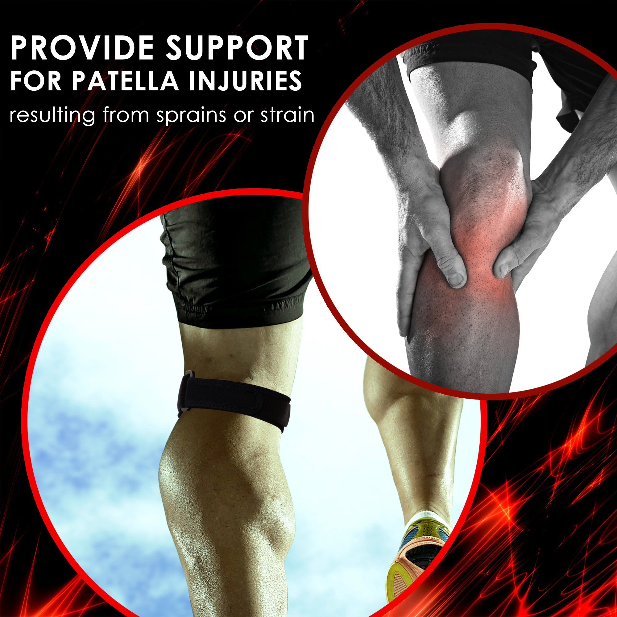 ORBE Patella Stabilizer Knee Strap Set: 2-Pack Athletic Knee Support Brace Kit  Adjustable Neoprene Pain Relief Patella Braces for Men & Women  Comfy Volleyball, Gym, Running & Tendonitis Knee Braces