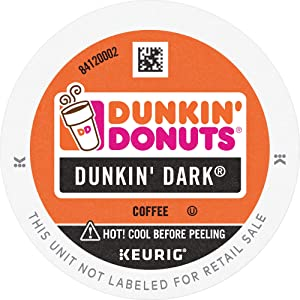 Dunkin' Donuts Dark K Cup Pods, Dark Roast Coffee, for Keurig Brewers, 60Count