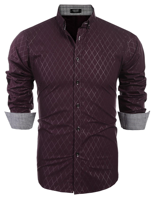 f28ceba125e Details about COOFANDY Men s Business Dress Shirt Long Sleeve Casual Slim  Fit Button Down
