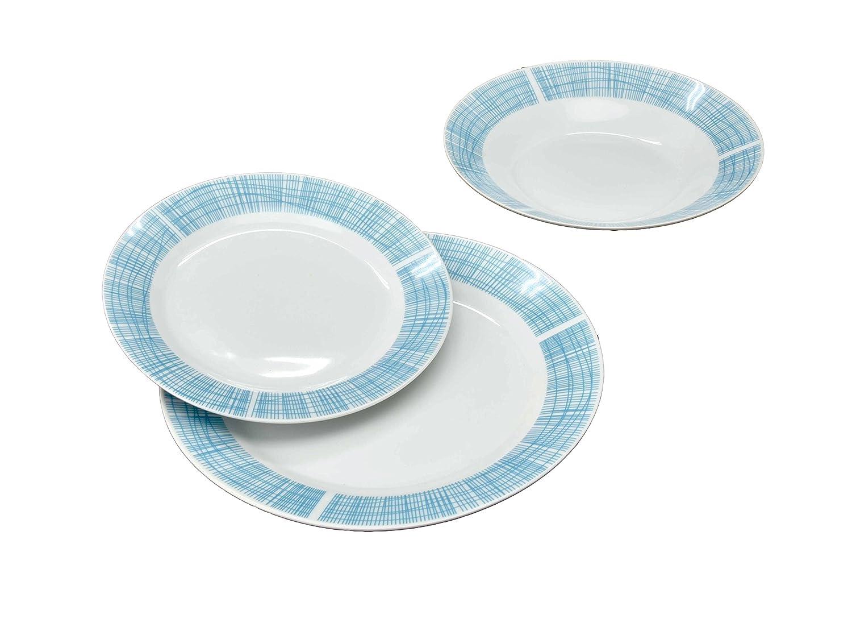 borella piatti  Borella Casalinghi Lido Servizio Piatti Lucca, Ceramica, Azzurro, 18 ...