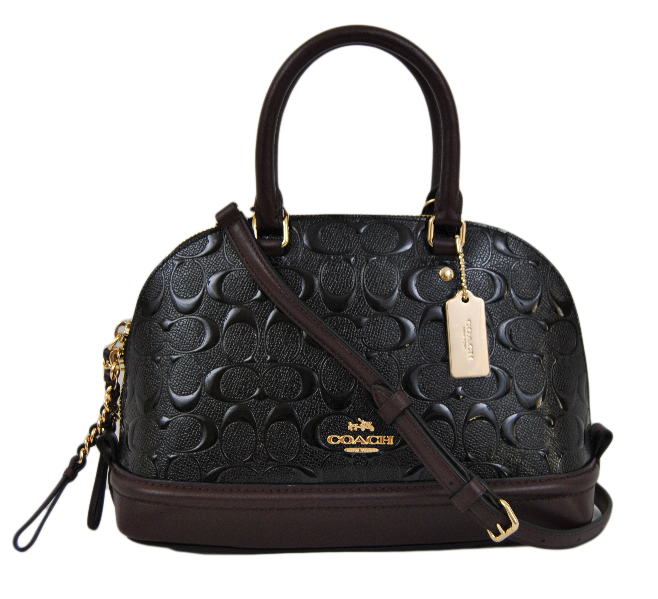 Coach Signature Debossed Patent Leather Mini Sierra Satchel, F55450 (Black, Oxblood) by Coach