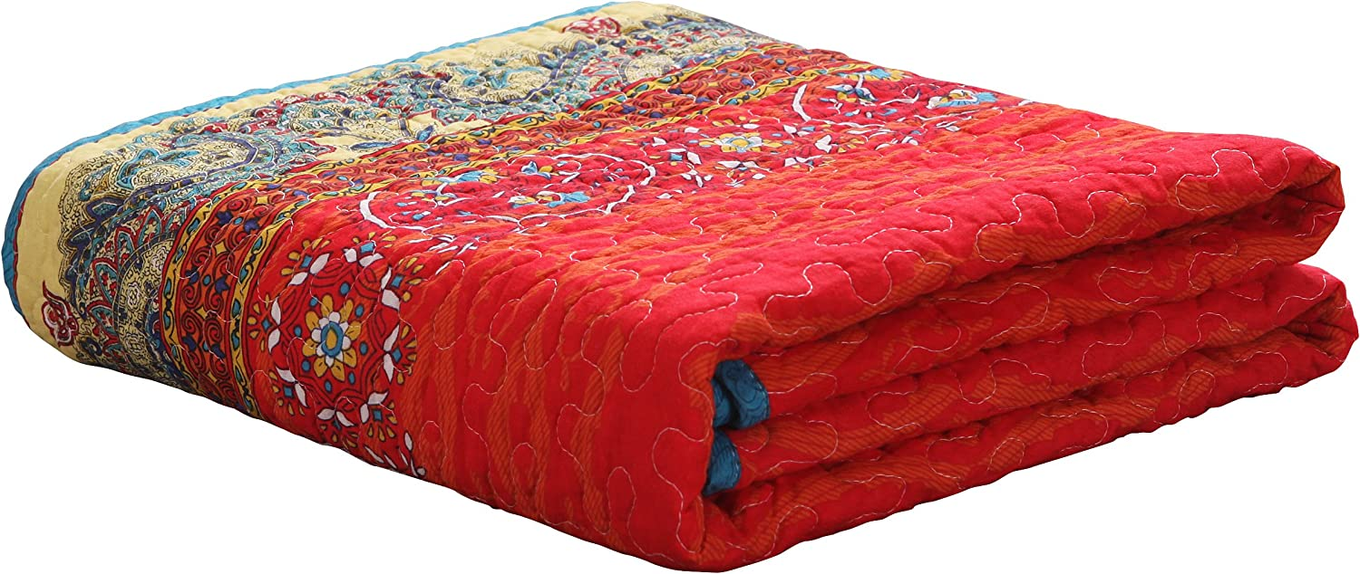 Exclusivo Mezcla 100/% Cotton 3-Piece Rich Printed Boho King Size Quilt Set as Bedspread//Coverlet//Bed Cover Lightweight Reversible/& Decorative