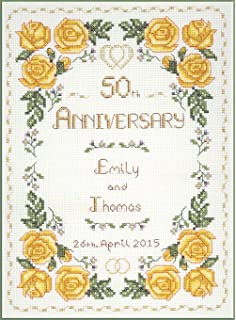 roses golden wedding anniversary complete cross stitch kit on 14 aida with clear colour chart