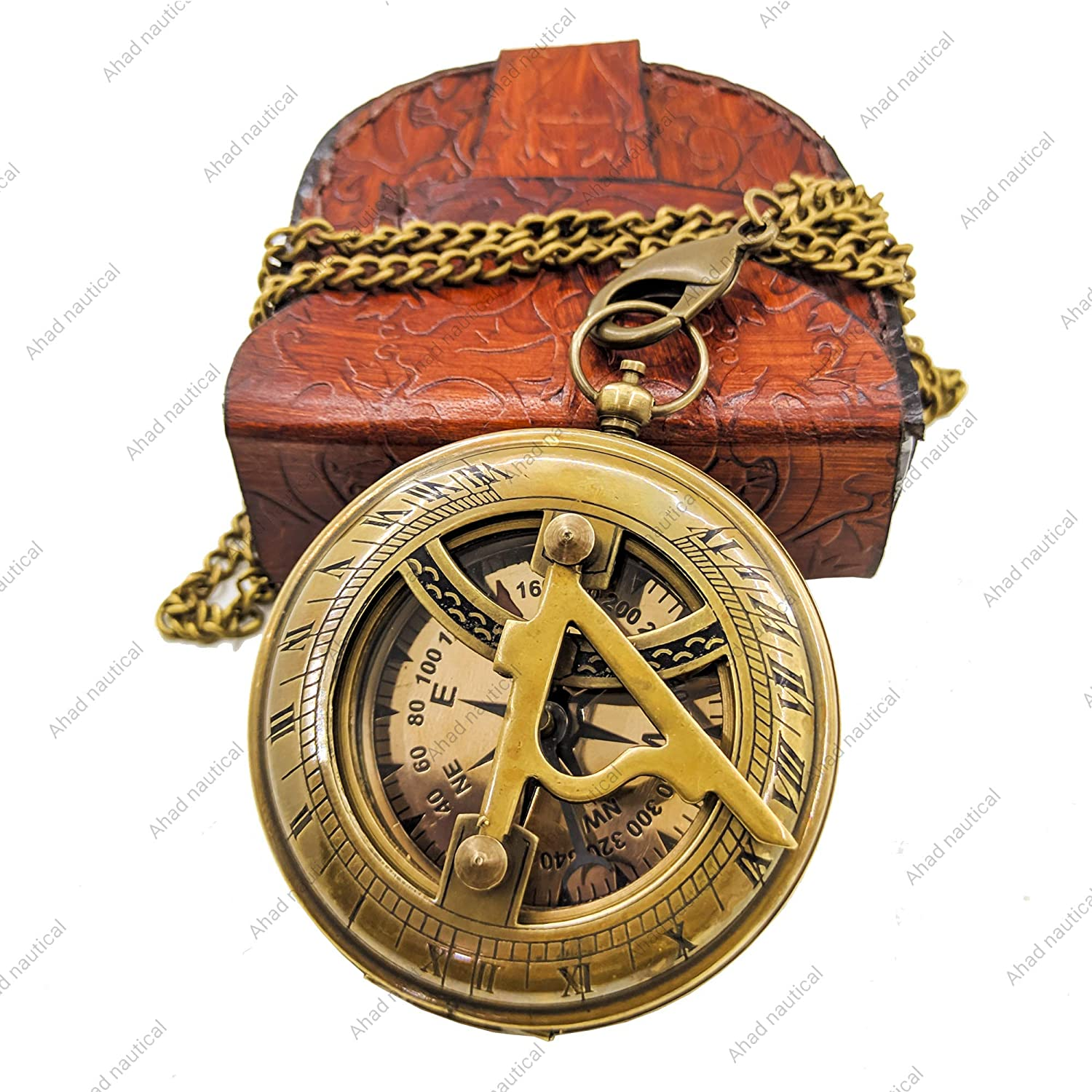 Ahad Nautical Brass Sundial Compass with Leather Case, 3'' inch Pocket Sundial Clock, Push Button Front Face Open Compass/Sundial for Garden, Gift for Everyone