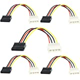 Storite 6inch 4 Pin Molex to SATA Power Cable Adaper (5 Pack)