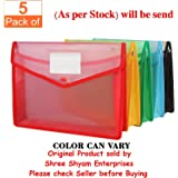 SPS Parth Envelope Folder,Transparent Poly-Plastic A4 Documents File Storage Bag With Snap Button Set Of 5/Certificate File Holder/Document Folder For Certificates A4 Size/Legal/Brief Bag For Document