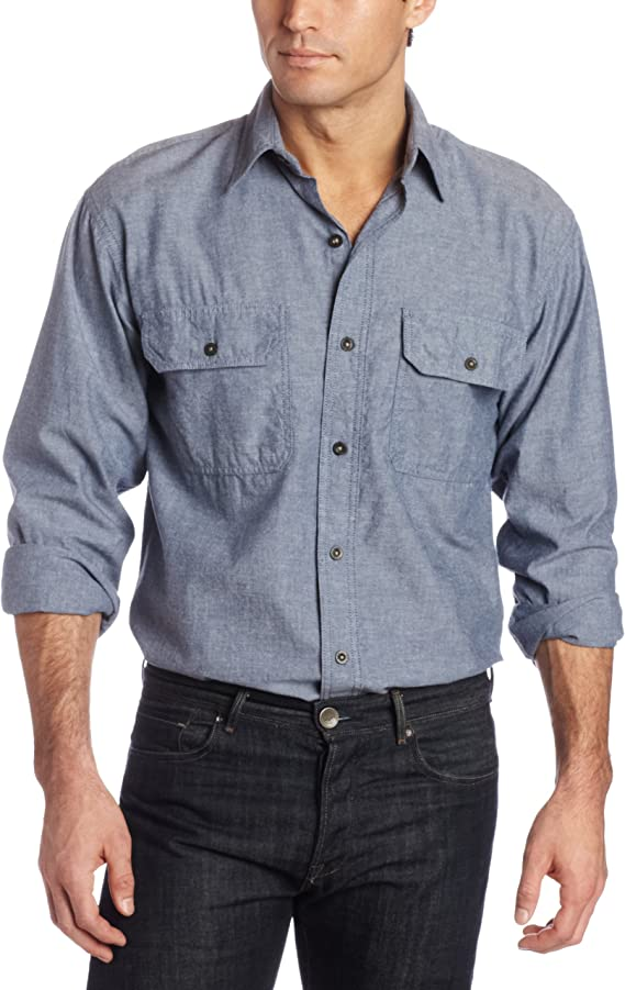 Men's Vintage Workwear Inspired Clothing Key Industries Mens Long Sleeve Button Down pre-Washed Chambray Shirt $31.99 AT vintagedancer.com