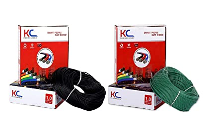 D'Mak� KC Cab PVC Insulated Wire 1. SQ/MM Single Core Flexible Copper Cable for Domestic/Industrial Electric Use 90 Meter Coil (Black and Green, Pack of-2)