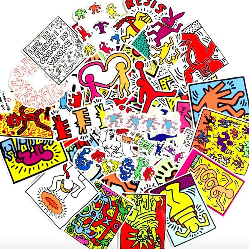 Performance Art Keith Haring Sticker Pack of 50 Stickers - The Office Stickers for Laptops, The Office Stickers for Laptops,Funny Stickers for Laptops, Computers, Hydro Fl