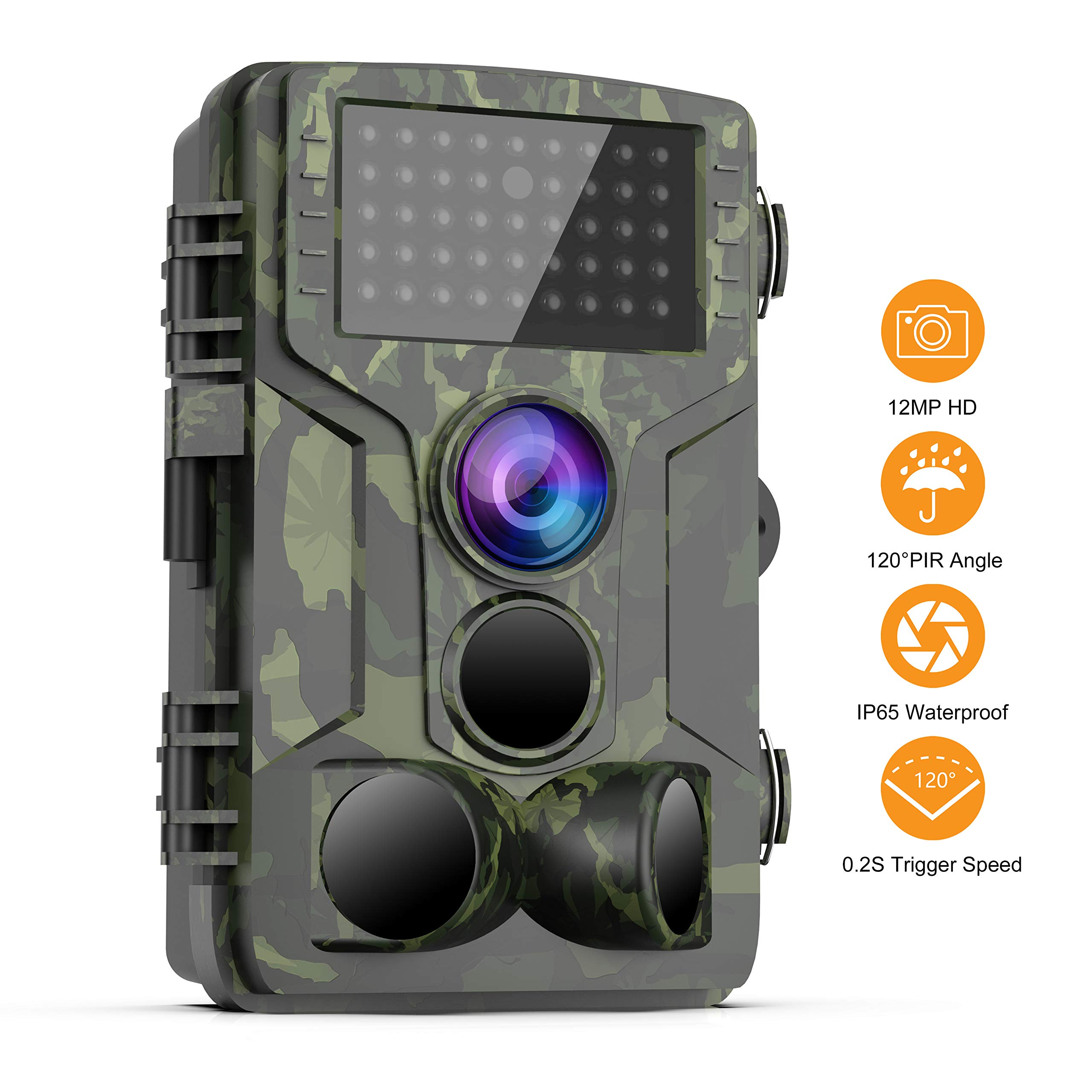 FHDCAM Trail Camera - 1080P Full HD Wildlife Scouting Hunting Camera with 0.3s Trigger Speed Motion Activated Night Vision, 120° Wide Angle Lens 3 PIR Sensor, Waterproof Game Camera by FHDCAM
