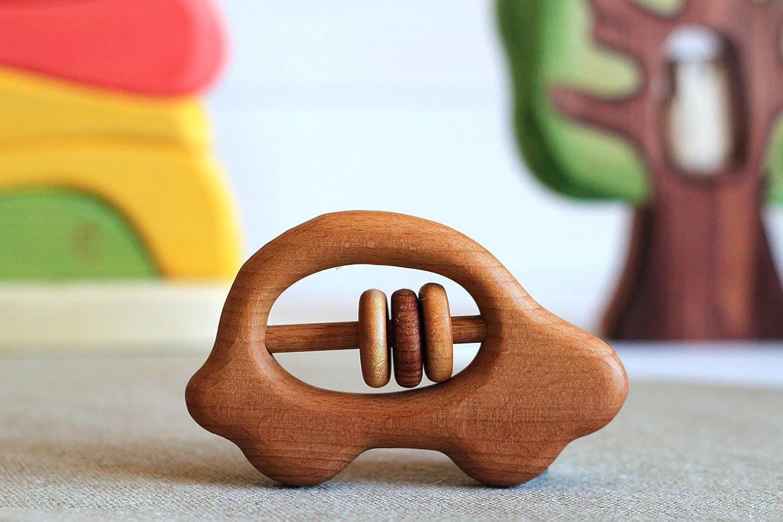 Beech Teething Toy. Wooden car Organic Wooden Teether