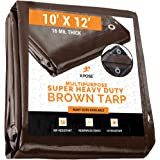 10' x 12' Super Heavy Duty 16 Mil Brown Poly Tarp Cover - Thick Waterproof, UV Resistant, Rot, Rip and Tear Proof Tarpaulin w