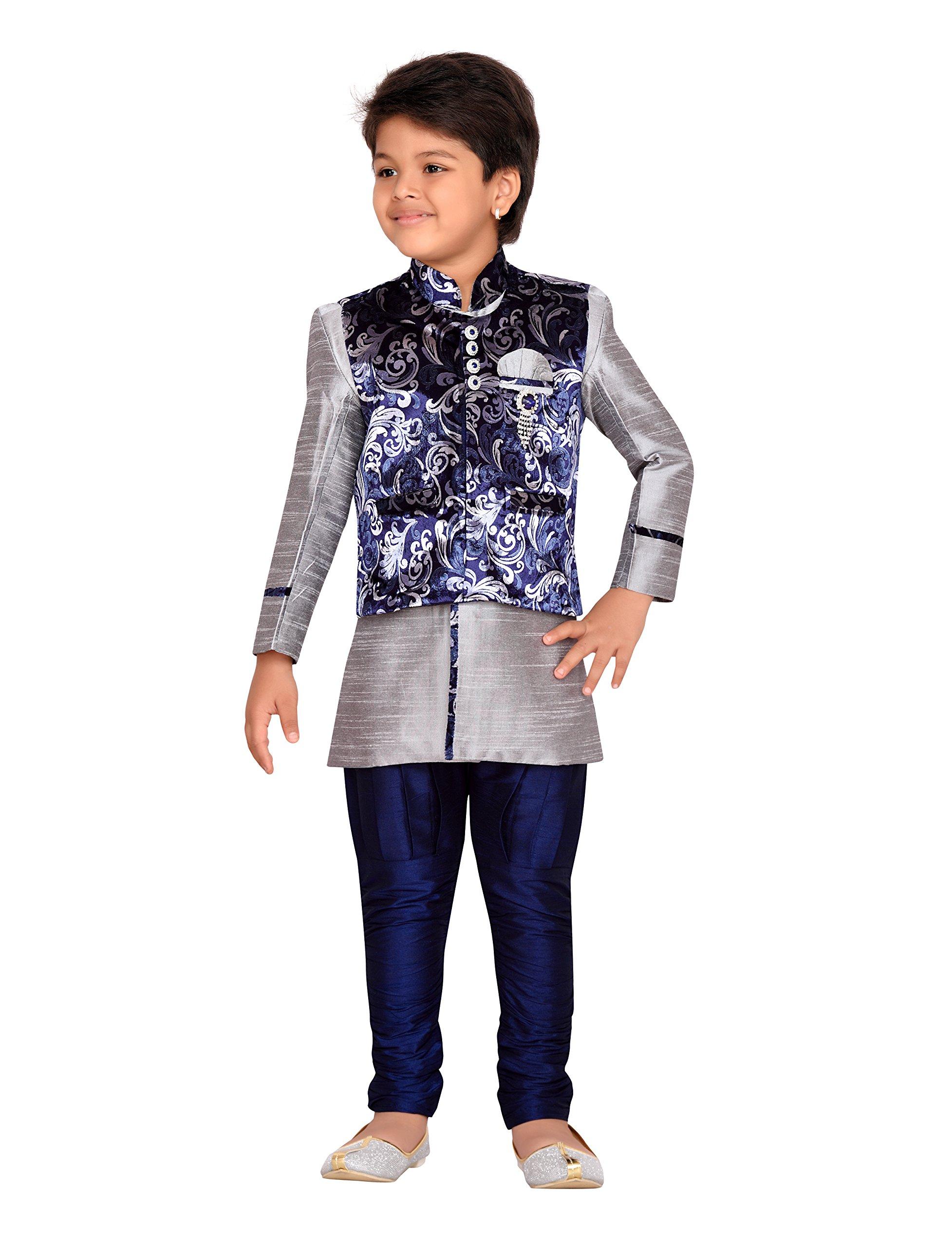 AJ Dezines Kids Indian Wear Bollywood Style Kurta Pyjama Waistcoat for Baby Boys (608-GREY-1)